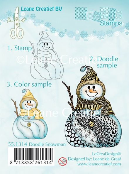 55.1314 ~ DOODLE SNOWMAN ~ Leane Creatief Clear Stamp